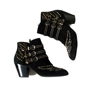 Ash Joyce Bootie Suede Studded Heeled Ankle Boots